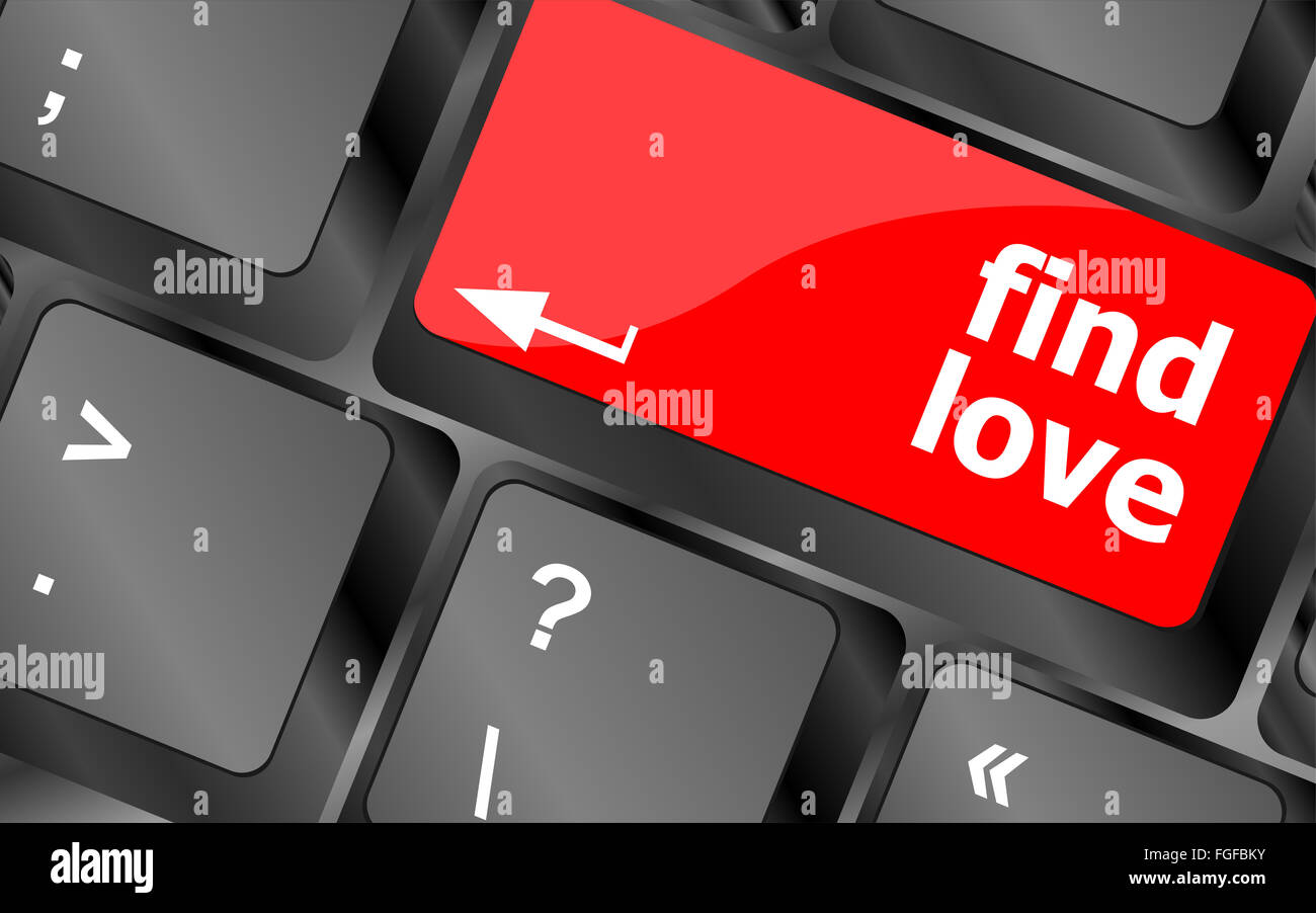 A keyboard with a find love button - social concept vector - Stock Image