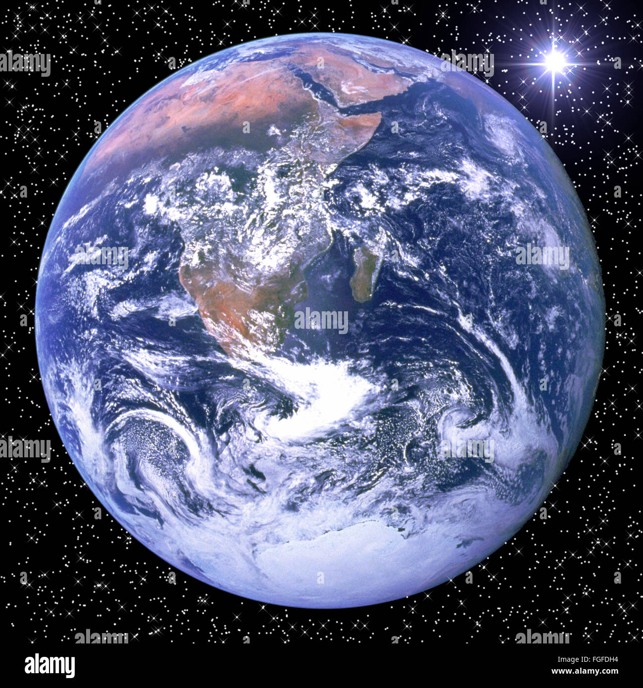 NASA image if earth in a starry sky - Stock Image