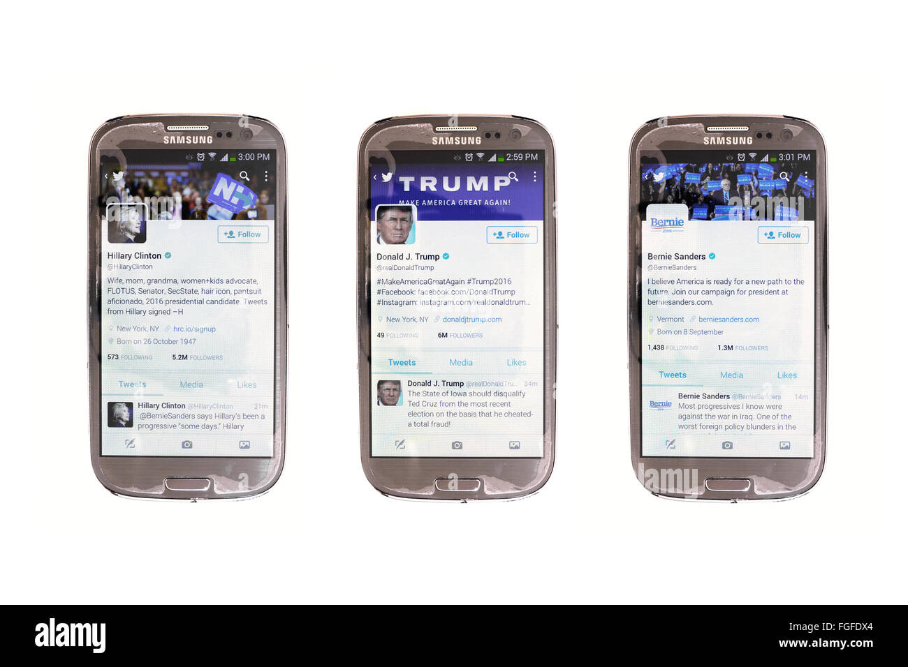 American political leaders twitter accounts on smartphone screens photographed against a white background. - Stock Image