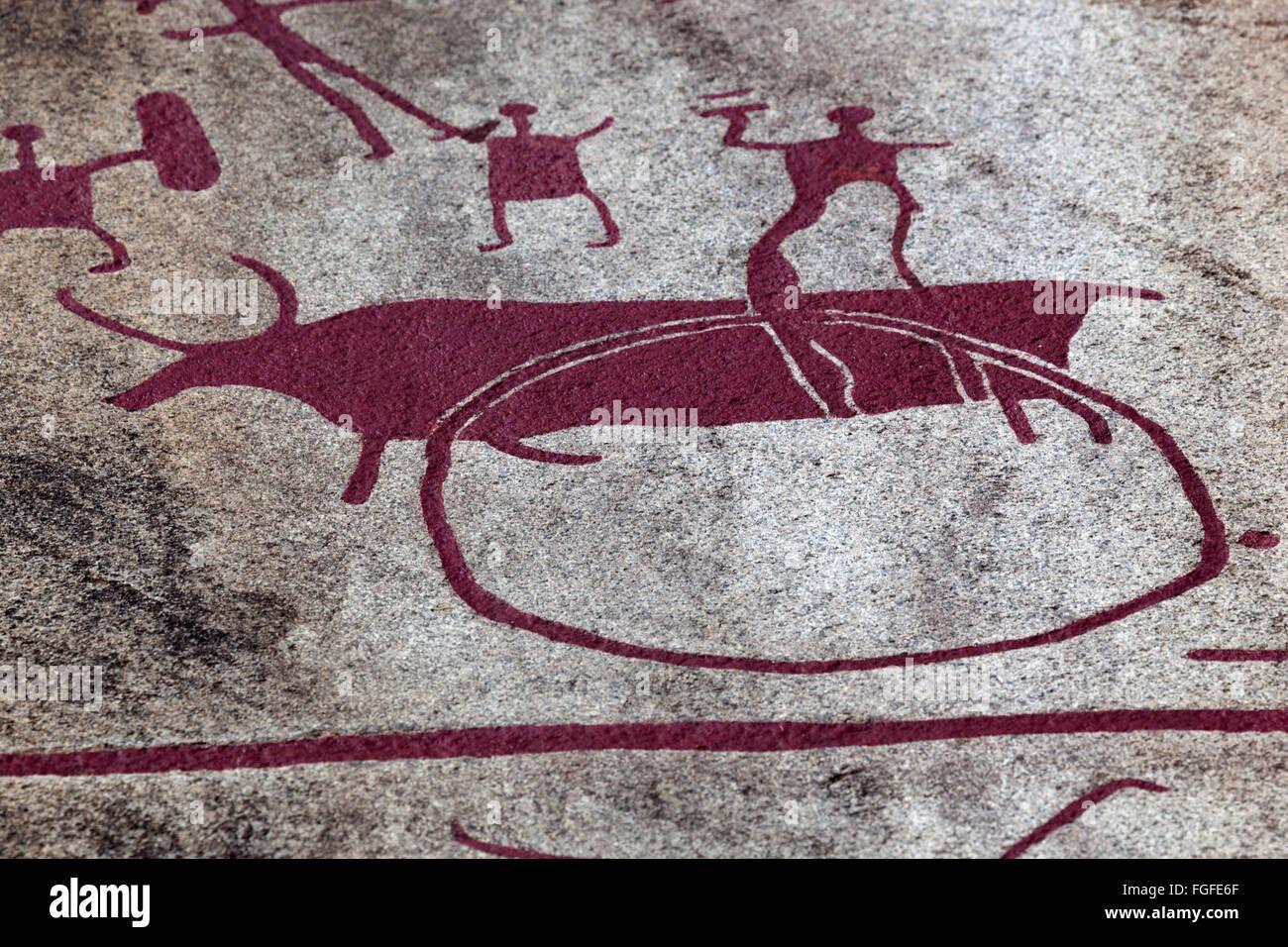 Vitlycke Rock Bronze Age rock carvings, Tanumshede, Bohuslän, Southwest Sweden, Sweden, Scandinavia, Europe - Stock Image