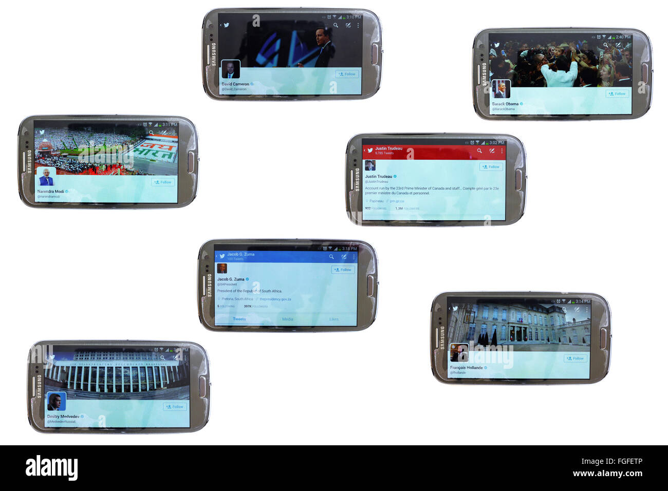 The twitter accounts of political leaders on the screens of smartphones photographed against a white background. - Stock Image