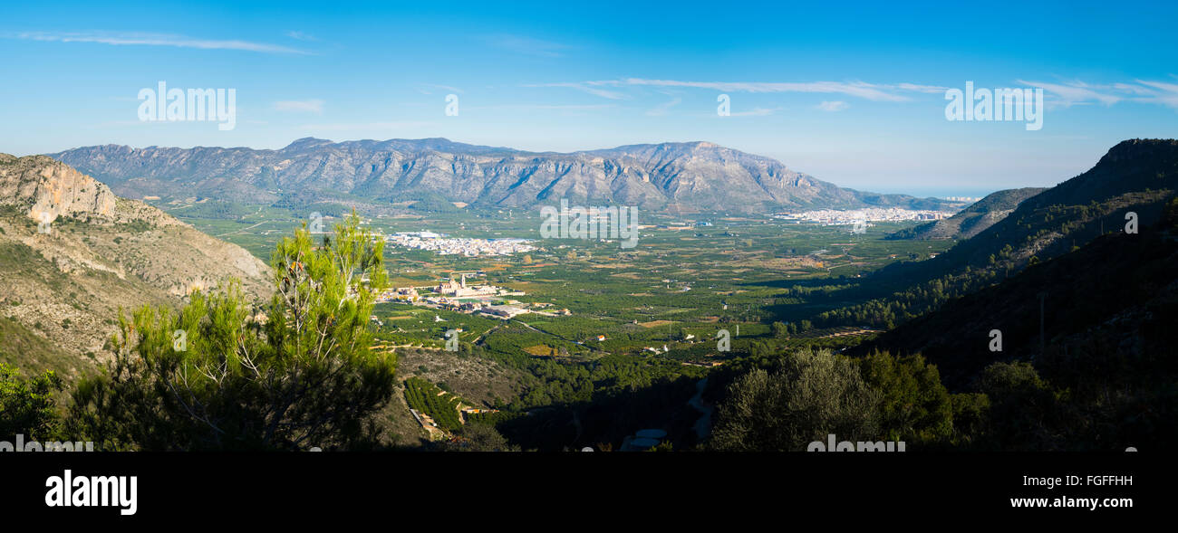Extreme panorama of Valldigna Valley in Spain with the towns of Simat and Tavernes - Stock Image