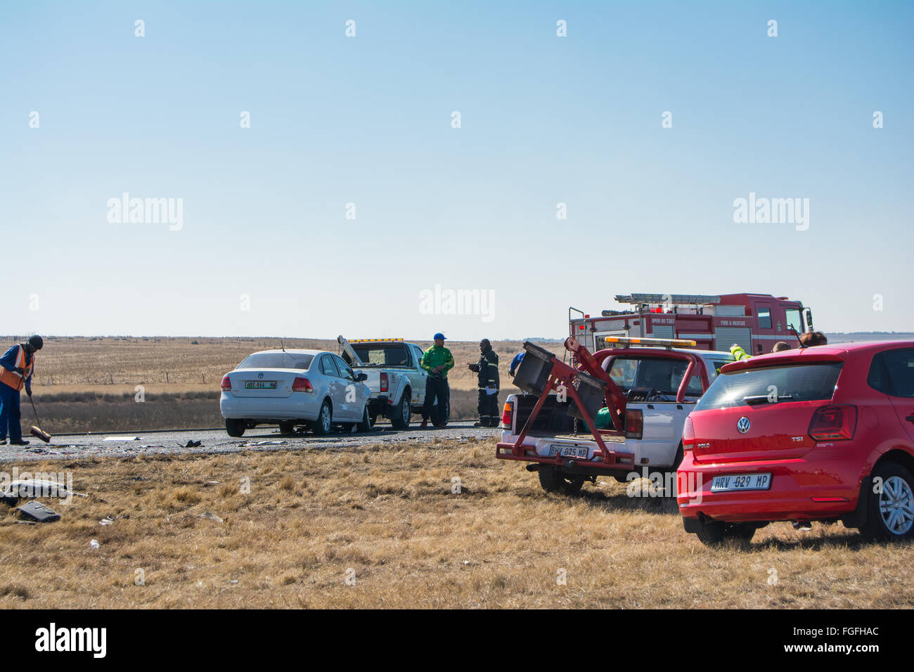 Clean up operations after an accident along the highway - Stock Image