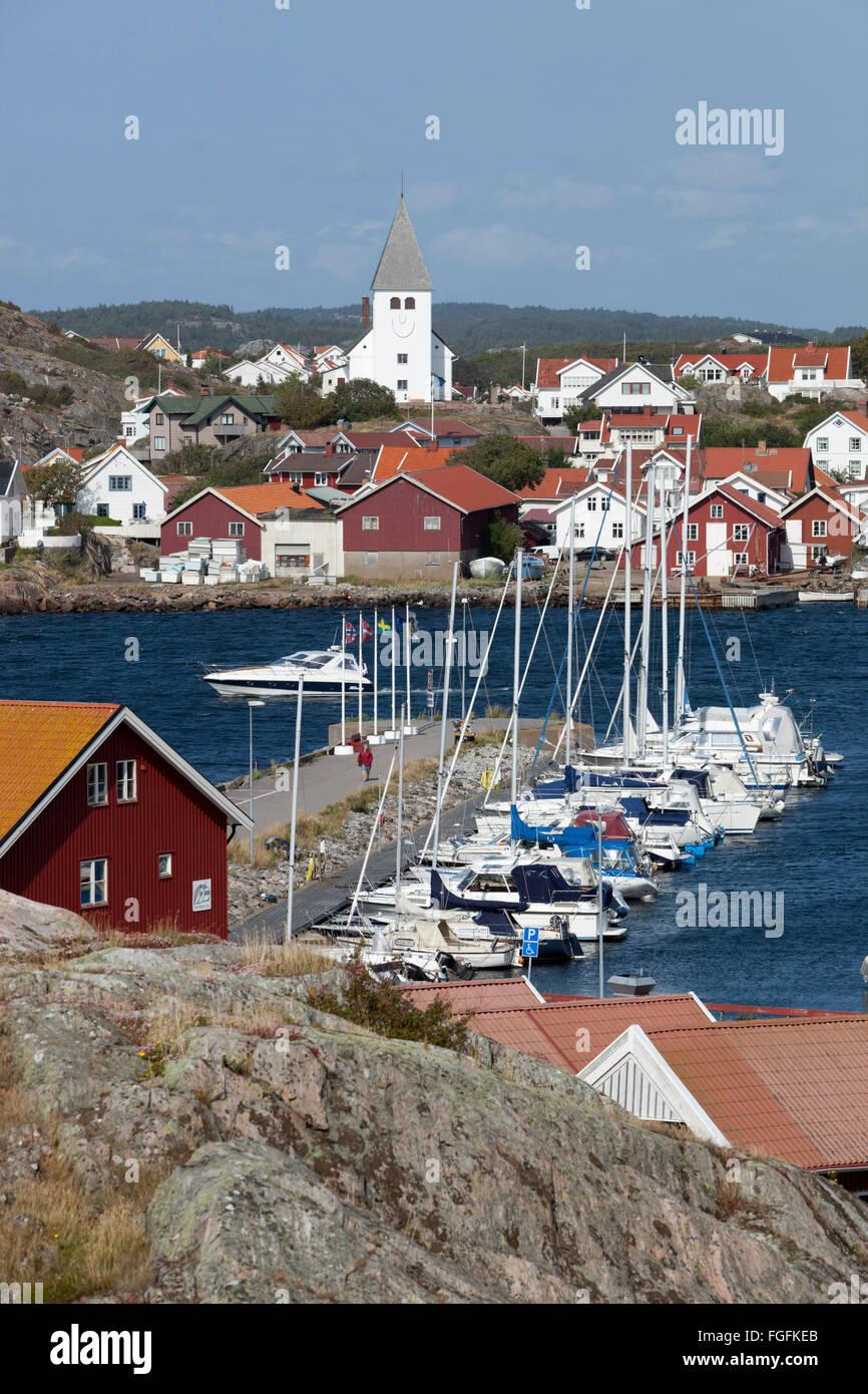View over town and harbour, Skärhamn, Tjörn, Bohuslän Coast, southwest Sweden, Sweden, Scandinavia, - Stock Image