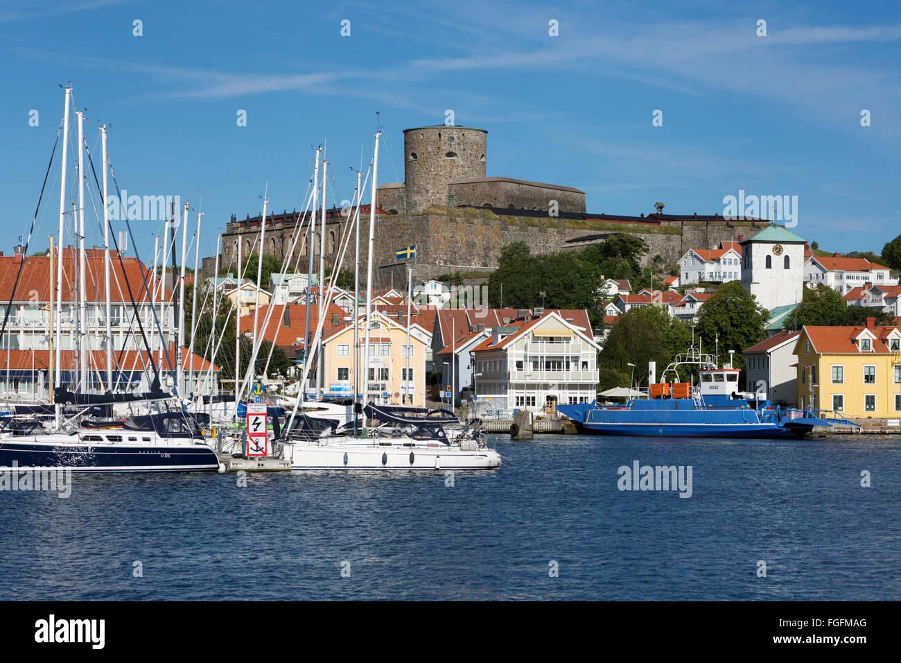 Carlstens fortress (Carlstens fästning) and harbour, Marstrand, Bohuslän Coast, southwest Sweden, Sweden, - Stock Image