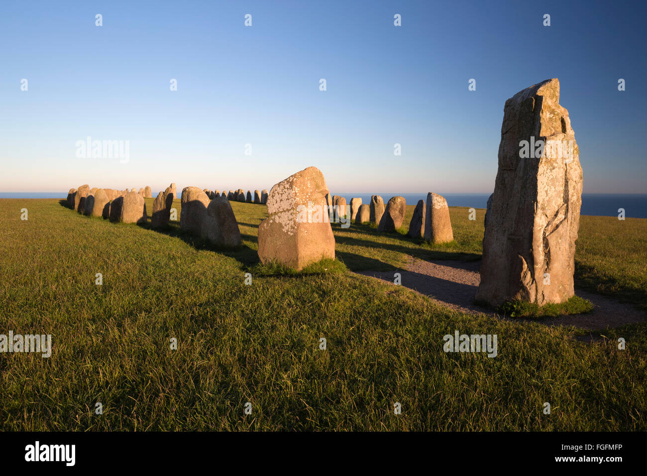 Boat shaped standing stones of Ales Stenar, Kaseberga, Skane, South Sweden, Sweden, Scandinavia, Europe - Stock Image