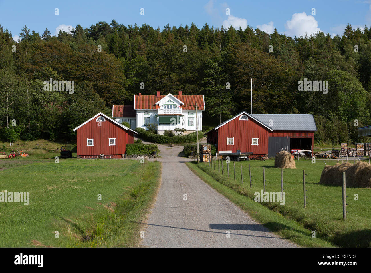 Typical Swedish farm, near Kode, Bohuslän, southwest Sweden, Sweden, Scandinavia, Europe Stock Photo