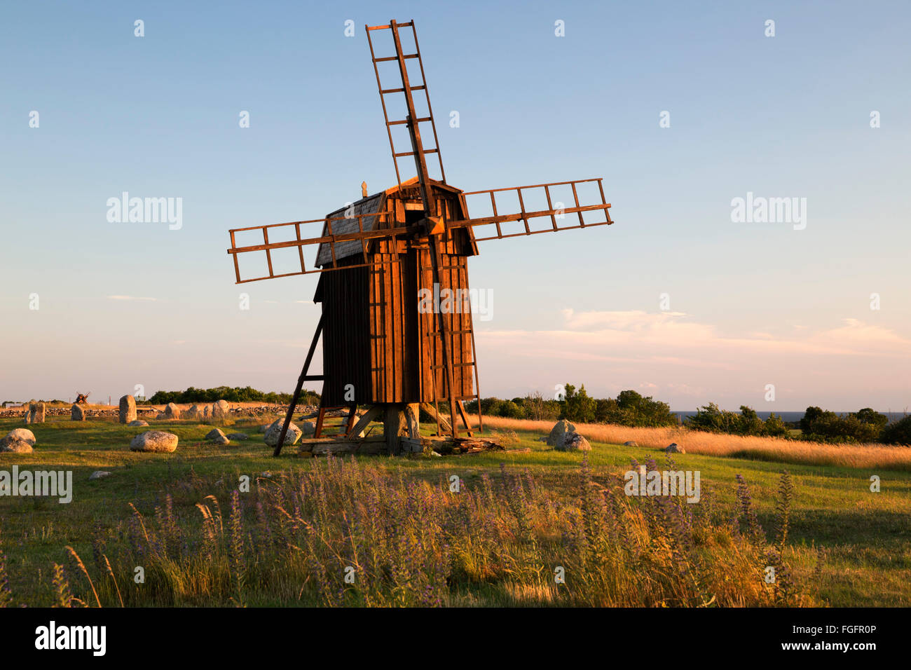 Traditional wooden windmill, Gettlinge, Oland, Southeast Sweden, Sweden, Scandinavia, Europe - Stock Image