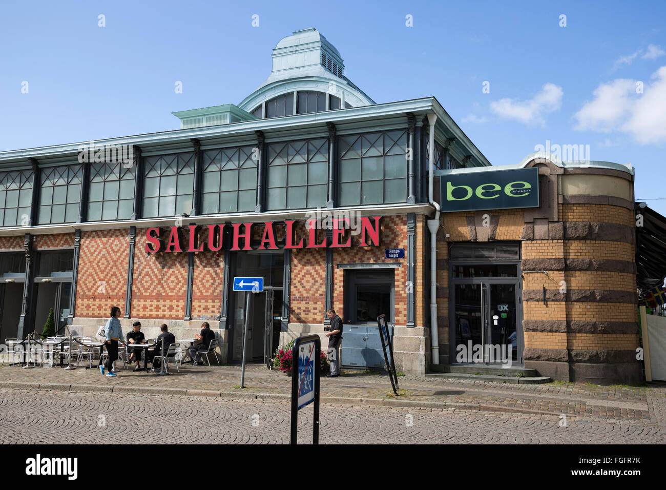 Saluhallen central market, Kungstorget, Gothenburg, West Gothland, Sweden, Scandinavia, Europe - Stock Image
