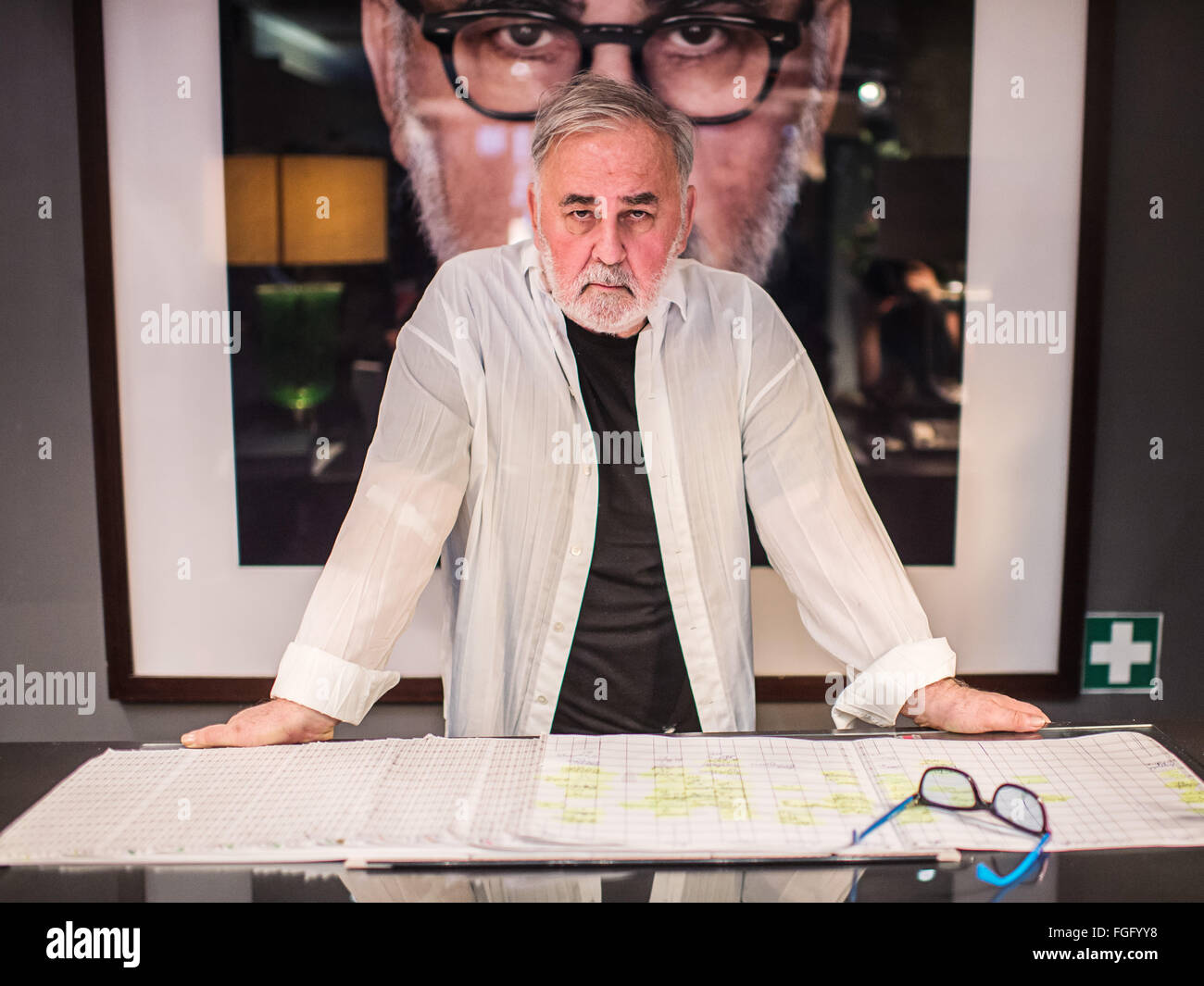 Berlin, Germany. 2nd Feb, 2016. Celebrity hairdresser Udo Walz pictured at his ahir dresser studio in Berlin, Germany, - Stock Image