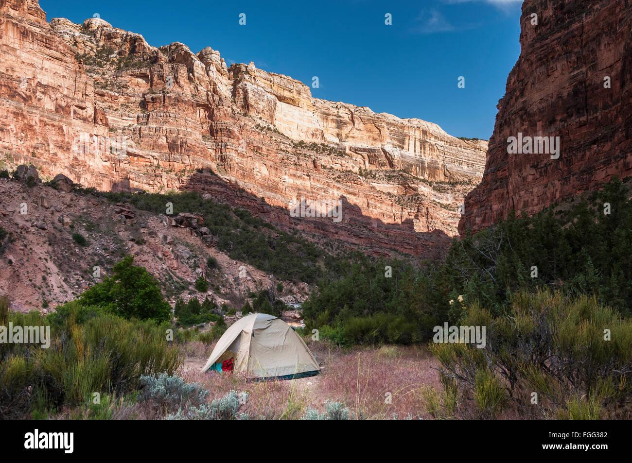Canyon walls near Big Joe campsite, Yampa River, Dinosaur National Monument, Colorado. - Stock Image