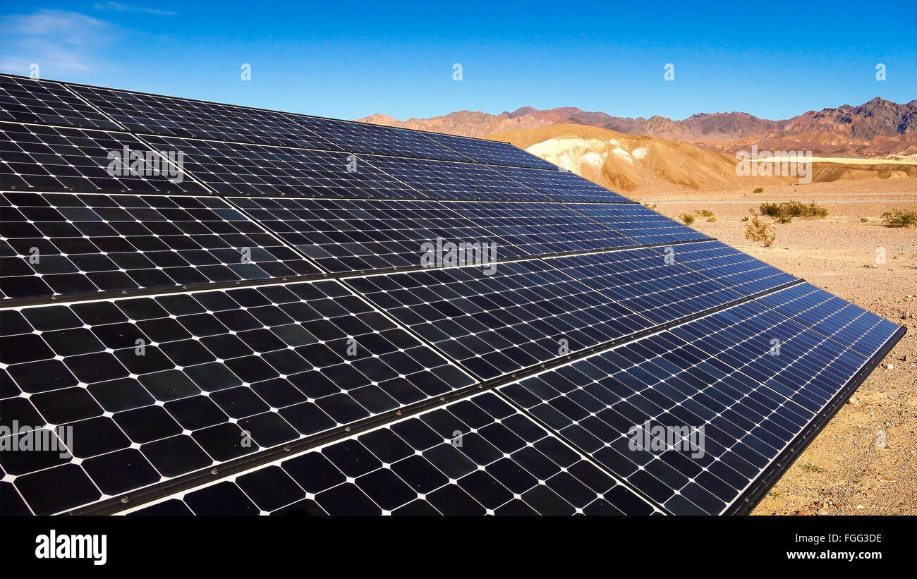 Solar panels soak up the sun in the Mojave Desert in Death Valley National Park Stock Photo