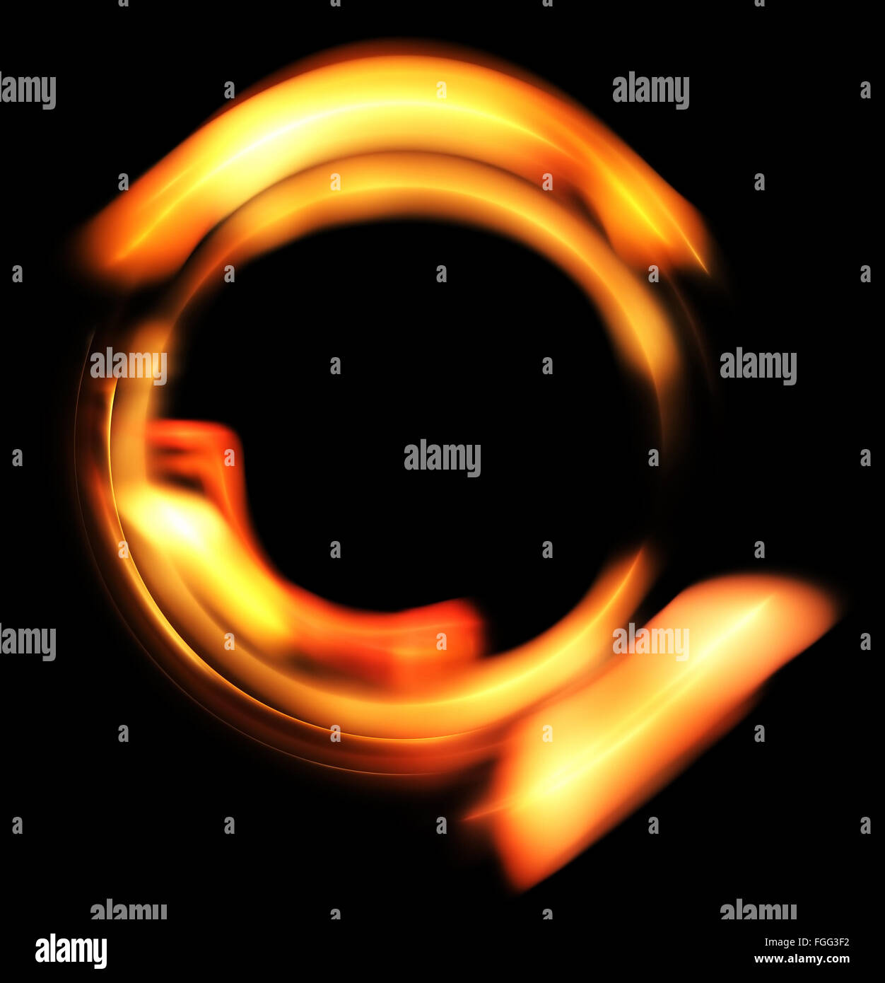 Heated circle. Molten ring on a black background - Stock Image