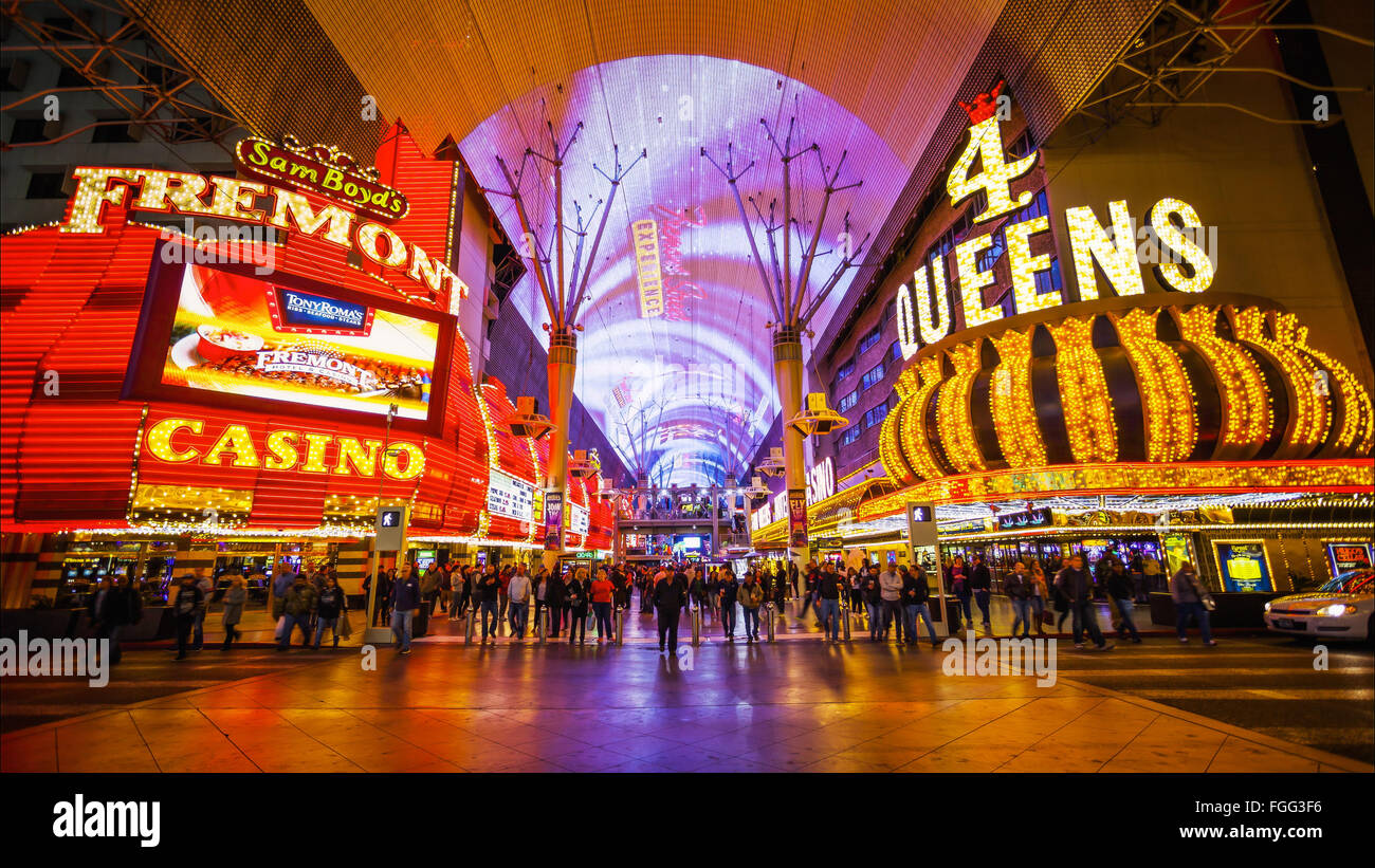 Famous Freemont Street on the Las Vegas Strip at night - Stock Image