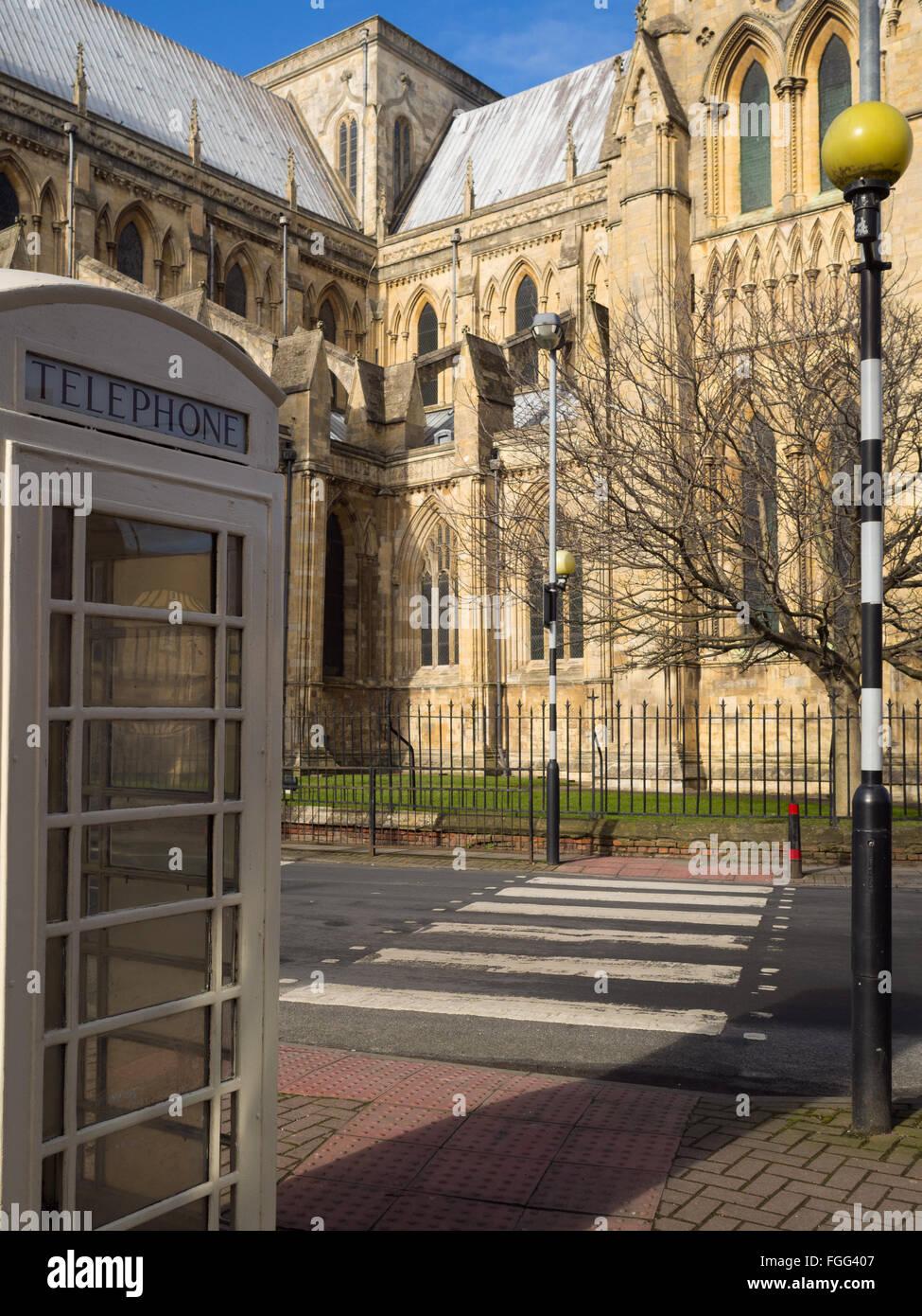 A Kingston Communication telephone box opposite Beverley Minster Stock Photo
