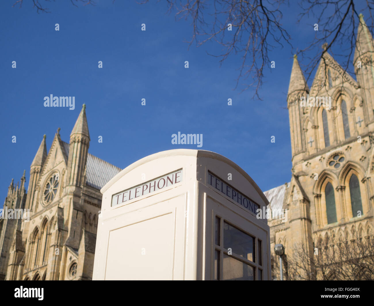 A Kingston Communication telephone box opposite Beverley Minster - Stock Image