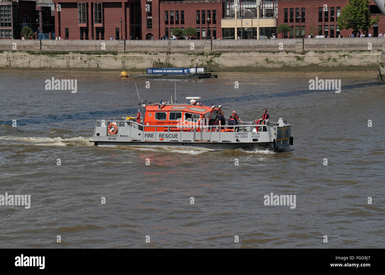 The London Fire Brigade fire rescue boat Fire Dart, on the River Thames in London, UK. - Stock Image