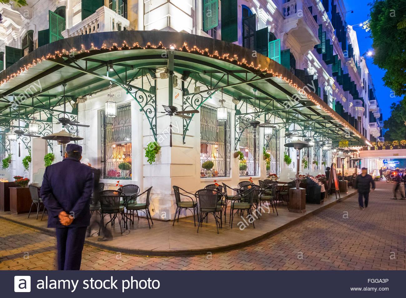 Sofitel Legend Metropole Hotel at night, Hanoi, Vietnam - Stock Image