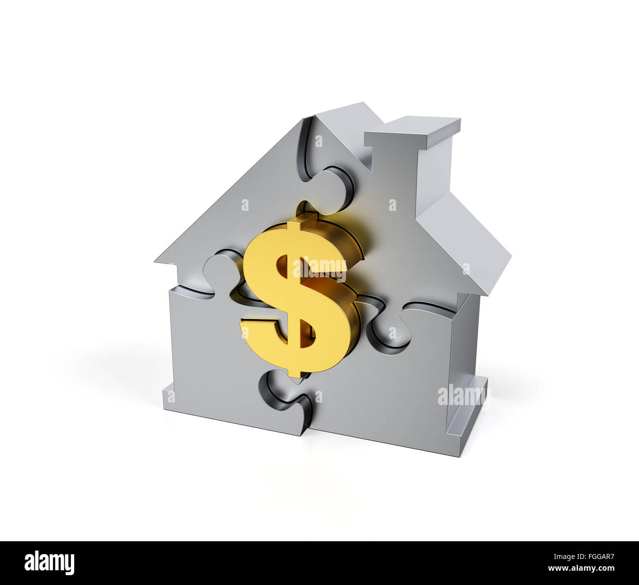 Steel Jigsaw Puzzle house with golden dollar sign - Stock Image