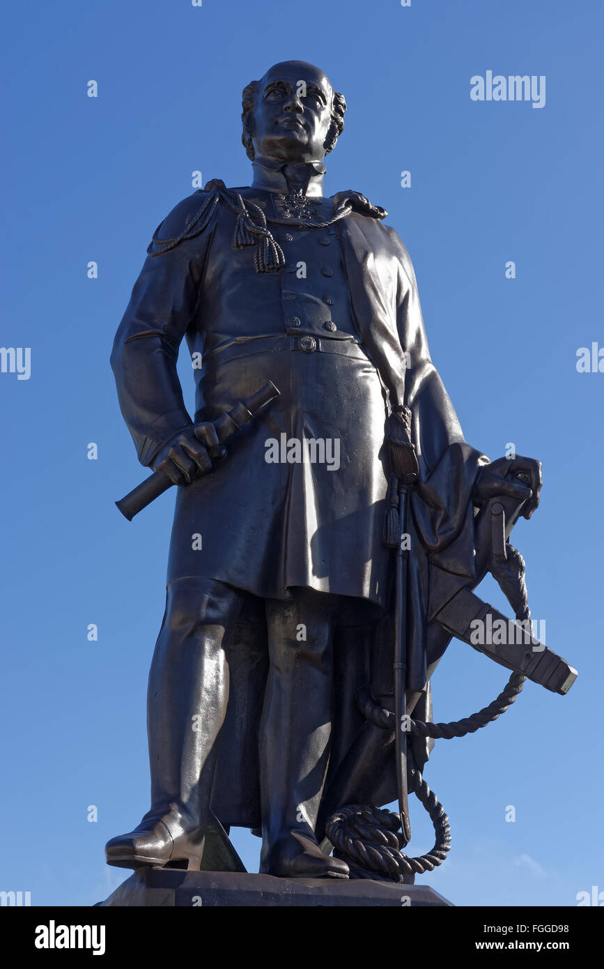 Statue of Sir John Franklin the Arctic explorer associated with the North West Passage. It stands in Spilsby,Lincolnshire,UK - Stock Image