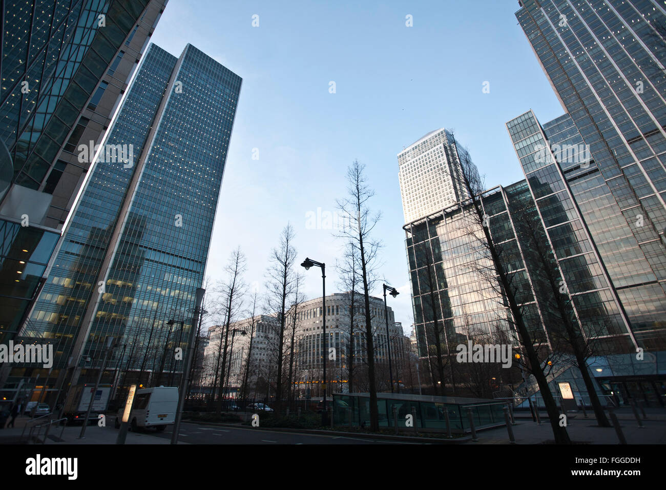 Financial institutions dwarfing the skyline at Canary Wharf, East London, England, United Kingdom - Stock Image