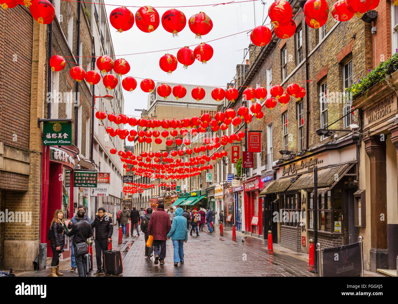 Lisle Street decorated for Chinese New Year in February 2016, Chinatown, Soho, London, England, UK - Stock Image