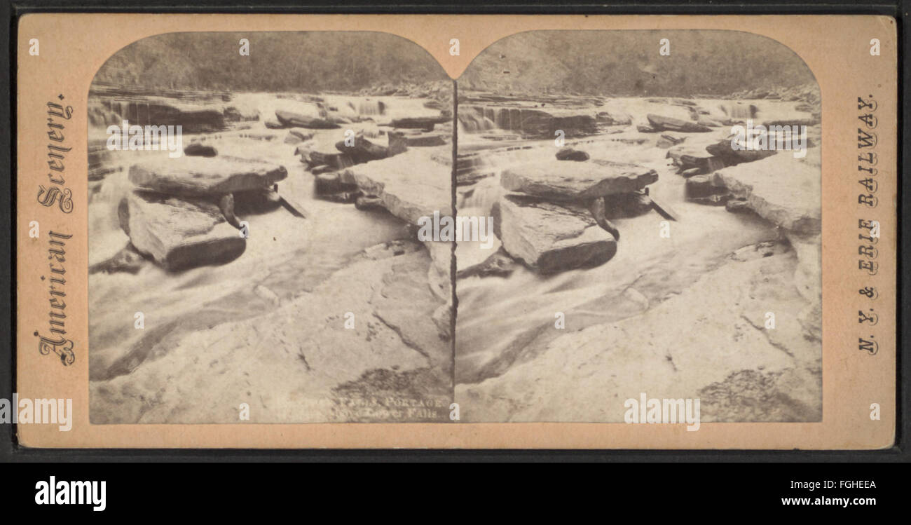 .. Rock Falls, Portage, above Lower Falls, from Robert N. Dennis collection of stereoscopic views Stock Photo
