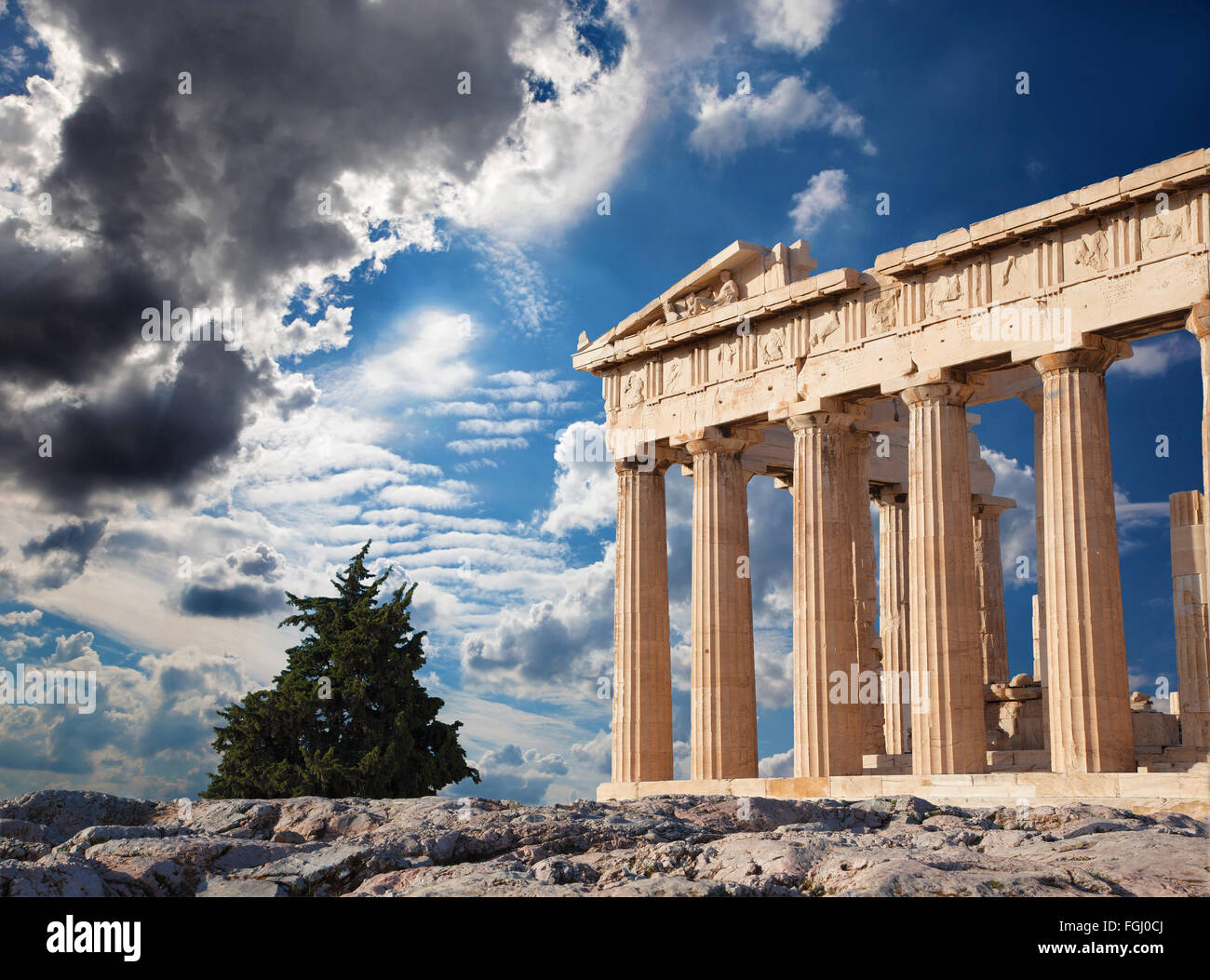 Athens - The Acropolis and beautiful cloudscape - Stock Image