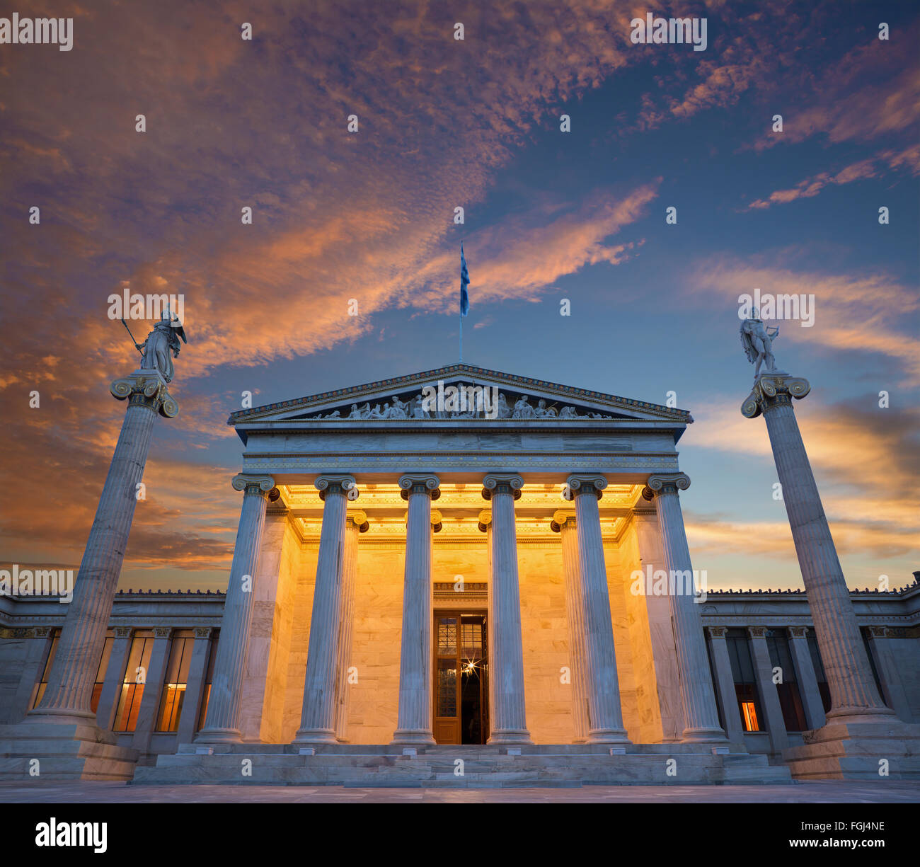 Athens - The National Academy building in morning dusk. - Stock Image