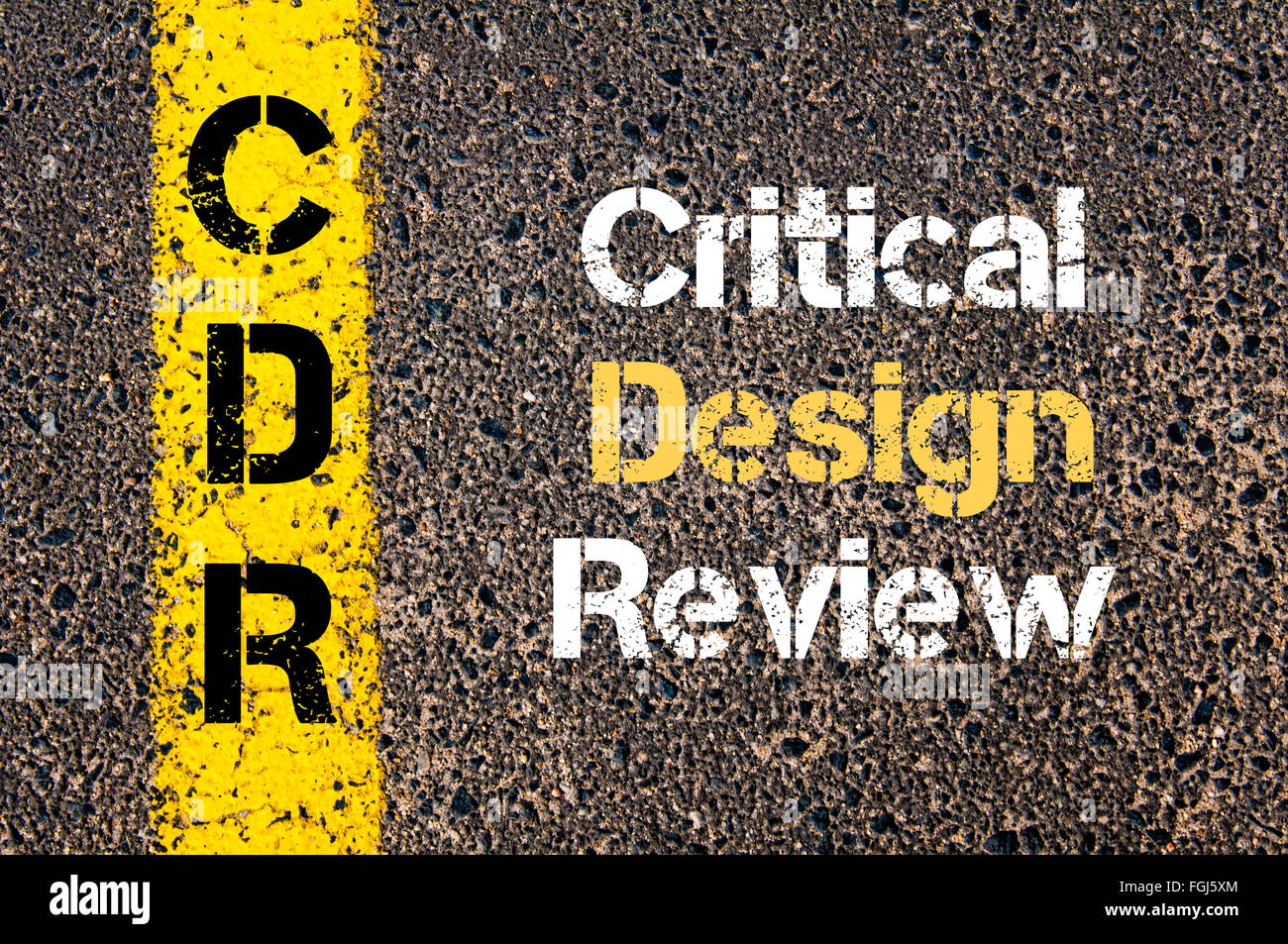 Concept image of Business Acronym CDR Critical Design Review written over road marking yellow paint line - Stock Image