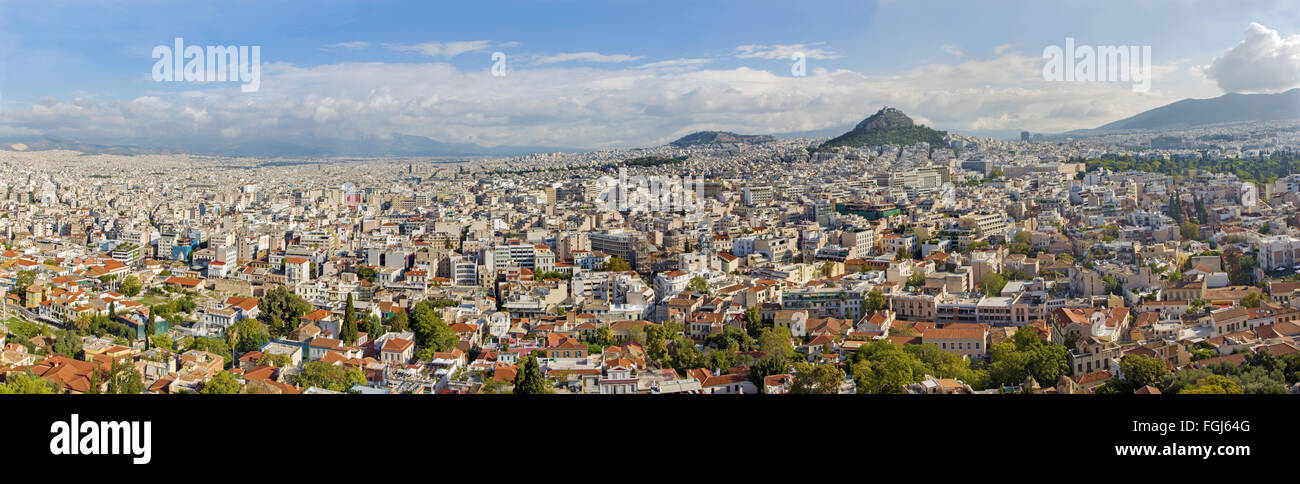 ATHENS, GREECE - OCTOBER 8, 2015: The panorama from Acropolis to Likavittos hill and the town. - Stock Image