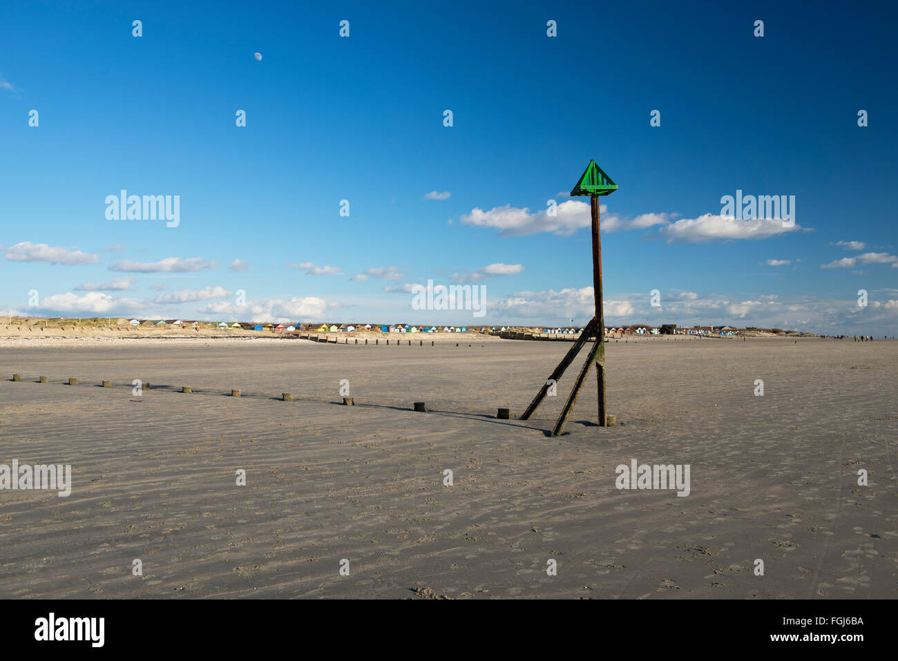 The almost deserted beach at West Wittering at low tide on a winter afternoon - Stock Image
