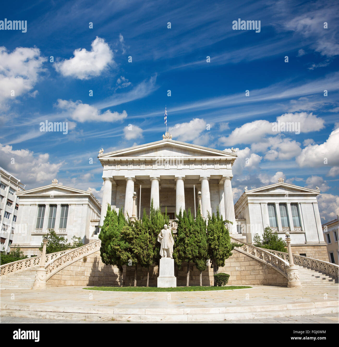 Athens - The National Library designed by the Danish architect Theophil Freiherr von Hansen (19. cent.) - Stock Image