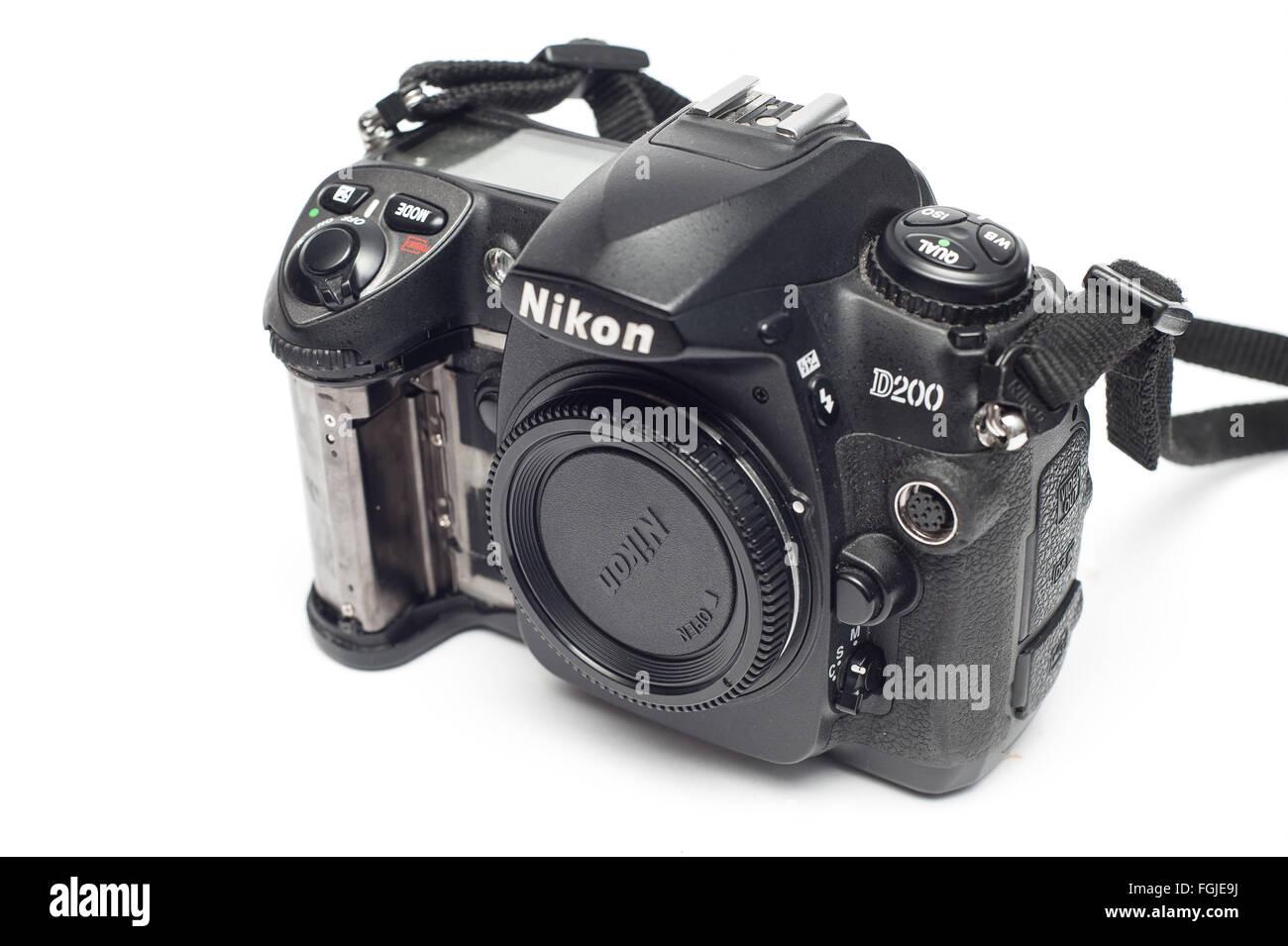 Pavlograd, Donetsk - Januart 27, 2015: Nikon D200 DSLR Camera with loose rubber. Isolated on white background - Stock Image