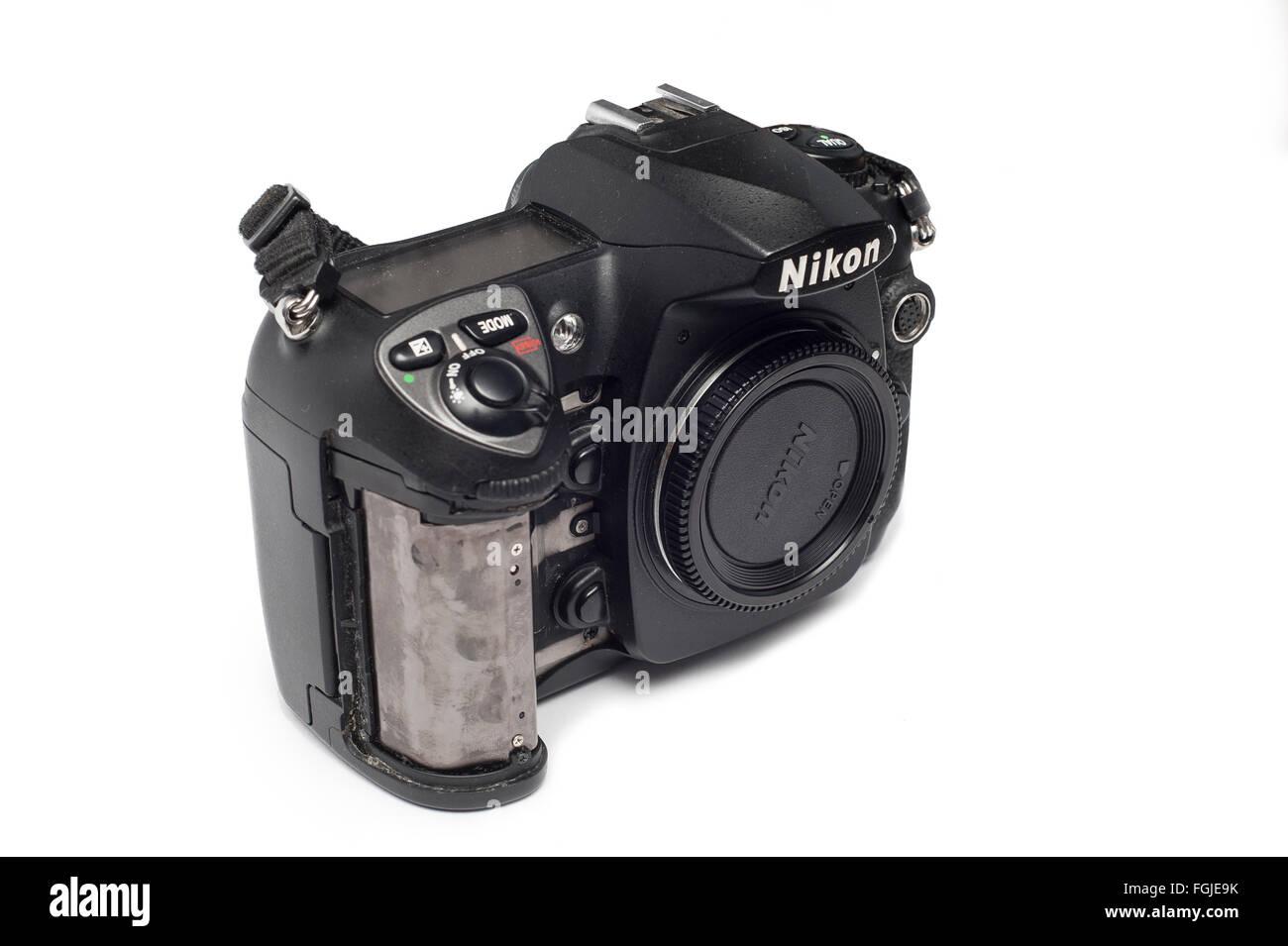 Pavlograd, Donetsk - Januart 27, 2015: Nikon D200 DSLR  DSLR Camera with loose rubber. Isolated on white background - Stock Image