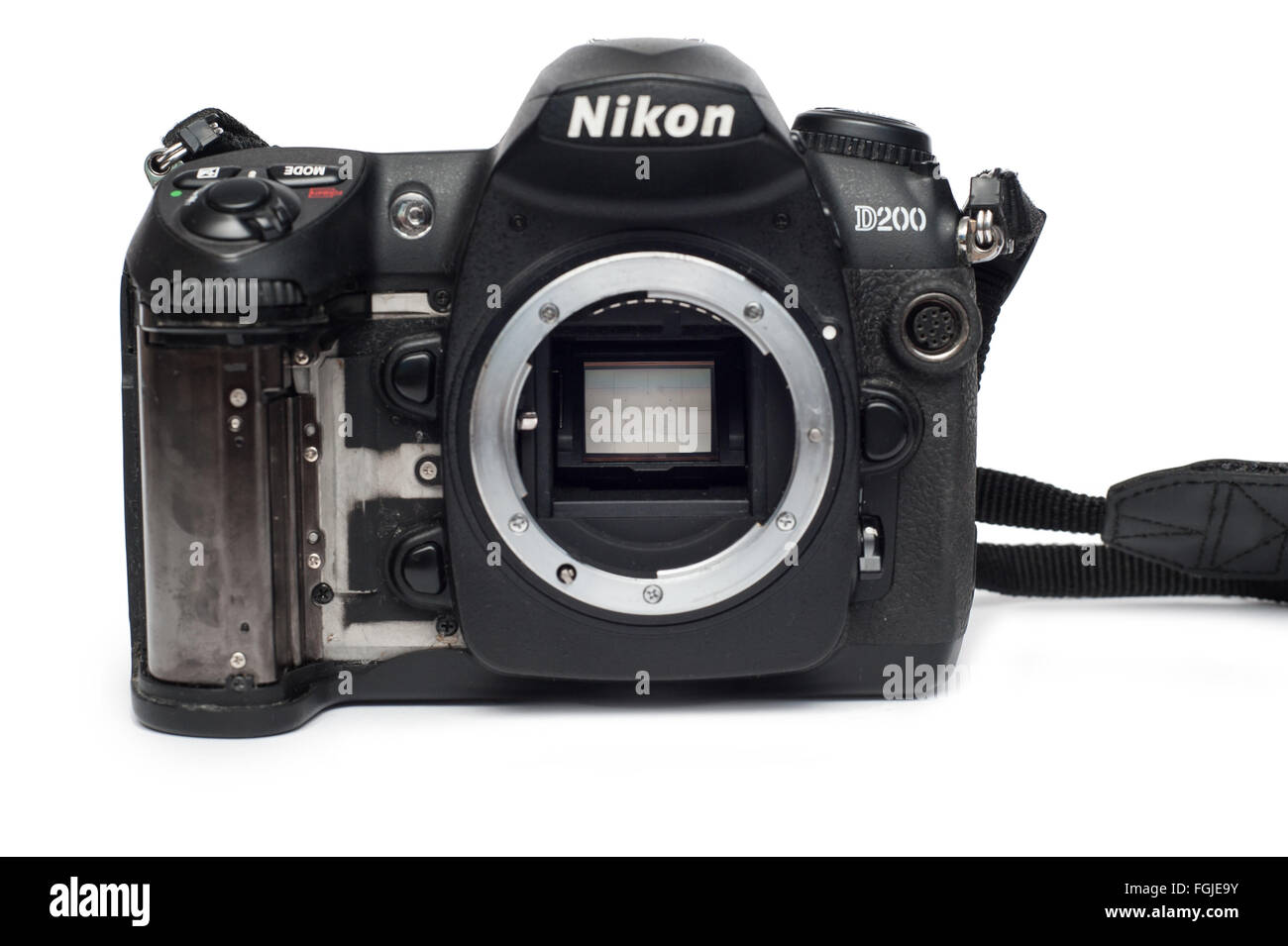Pavlograd, Donetsk - Januart 27, 2015: Nikon D200 DSLR  Camera with loose rubber. closeup mirror inside. Isolated - Stock Image