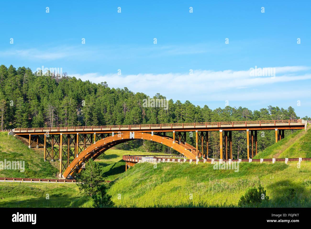 Highway overpass in the Black Hills in South Dakota - Stock Image