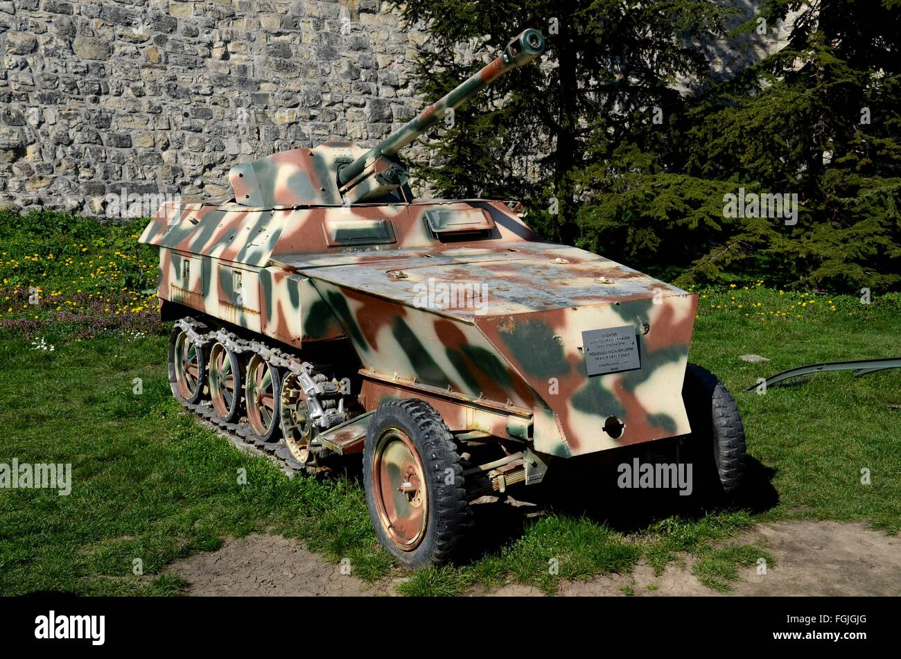 German built armored half-track troop carrier with cannon gun from World War Two Sd. Kfz 250 in Belgrade Serbia - Stock Image