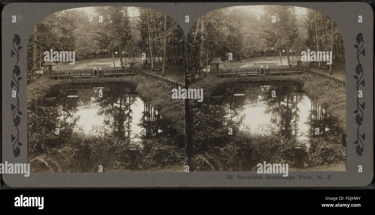 Beautiful Sacandaga Park, N.Y, from Robert N. Dennis collection of stereoscopic views 1 - Stock Image