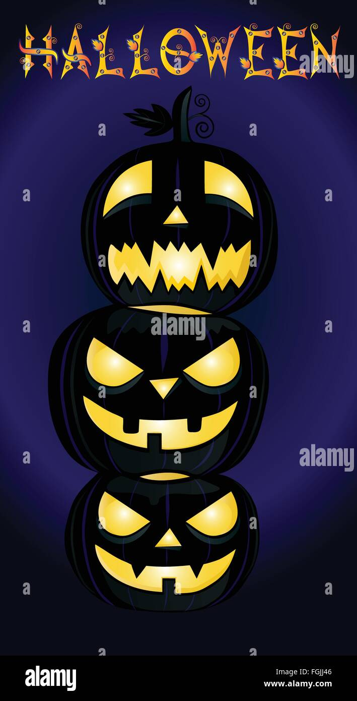 Three Halloween pumpkins and Halloween word on dark background - Stock Vector