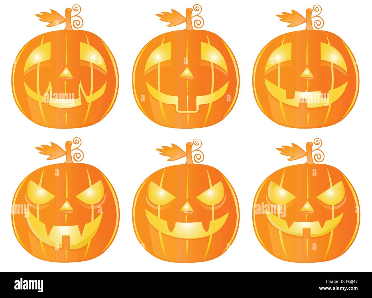 Six Halloween pumpkins isolated on white - Stock Vector