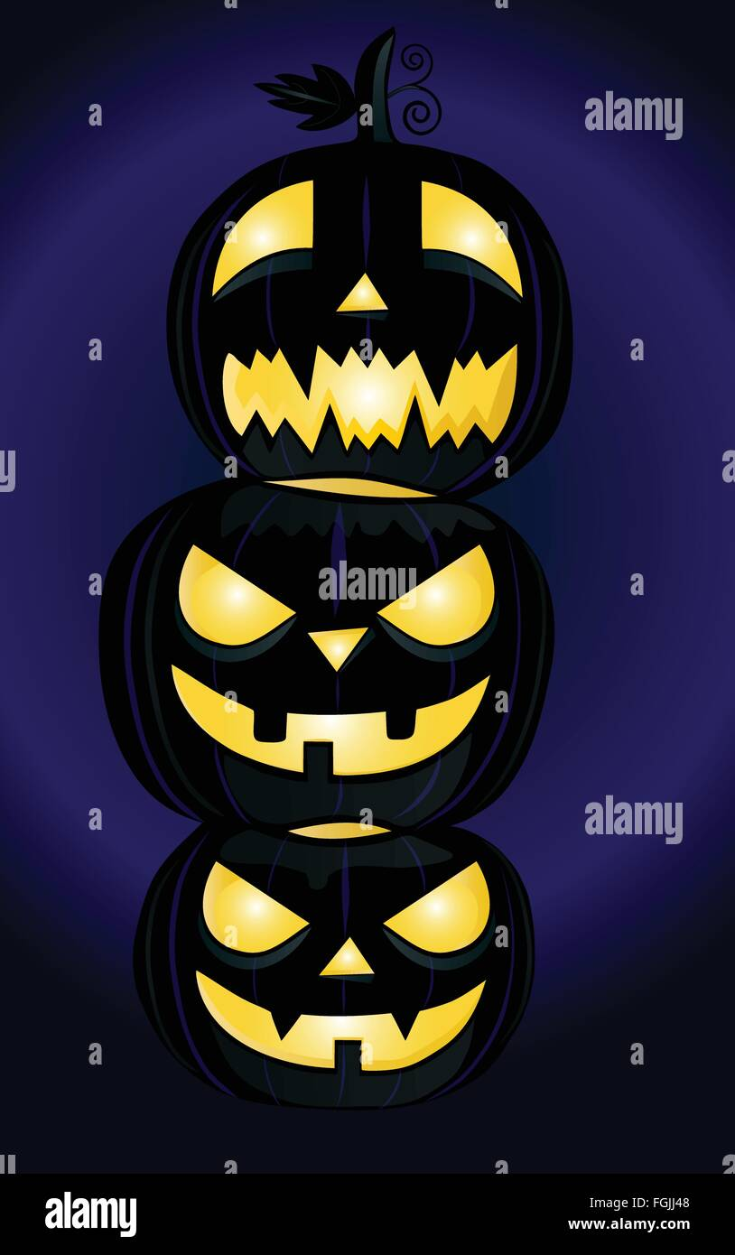 Three Halloween pumpkins on blue and black background - Stock Vector