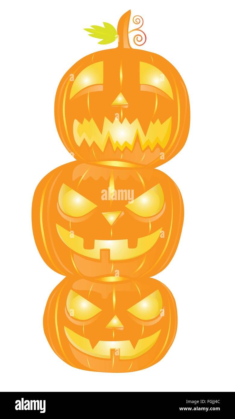 Three Halloween pumpkins isolated on white - Stock Vector