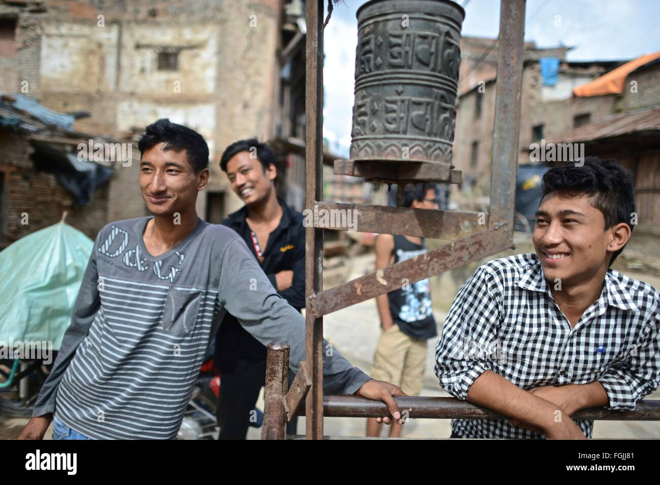 Young Nepali man smiling - Stock Image