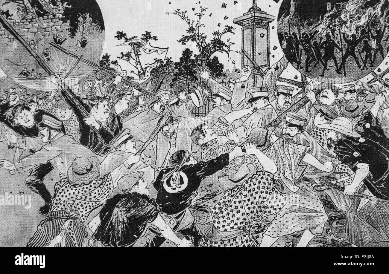 Caricature of Hibiya incendiary incident  occurred on 5 September 1905 at Tokyo Japan. - Stock Image