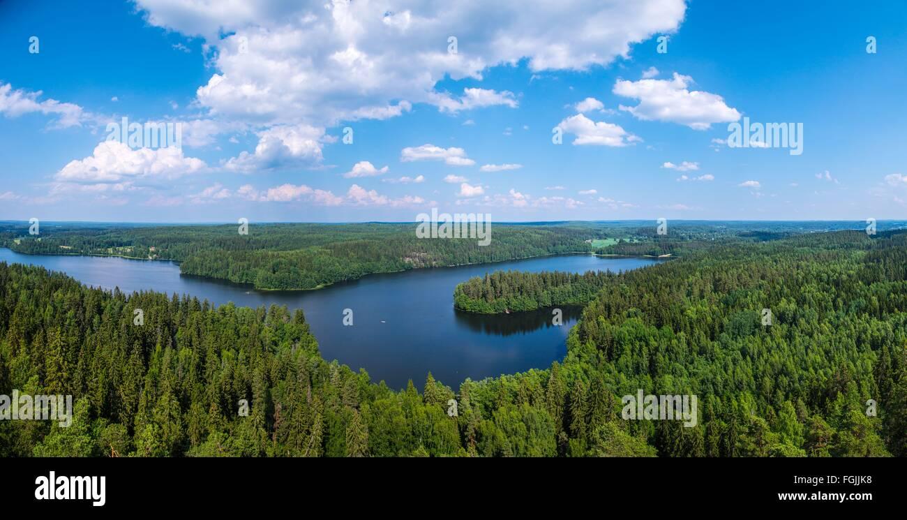 aulanko; hämeenlinna; kesä; panoraama; näköala; nähtävyys; näköala; järvi; - Stock Image