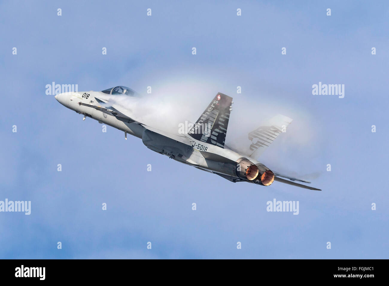 McDonnell Douglas F/A-18C Hornet J-5018 of the Swiss Air Force - Stock Image