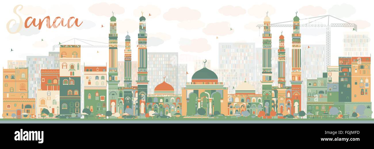Abstract Sanaa (Yemen) Skyline with Color Buildings. Vector Illustration. Business Travel and Tourism Concept Stock Vector