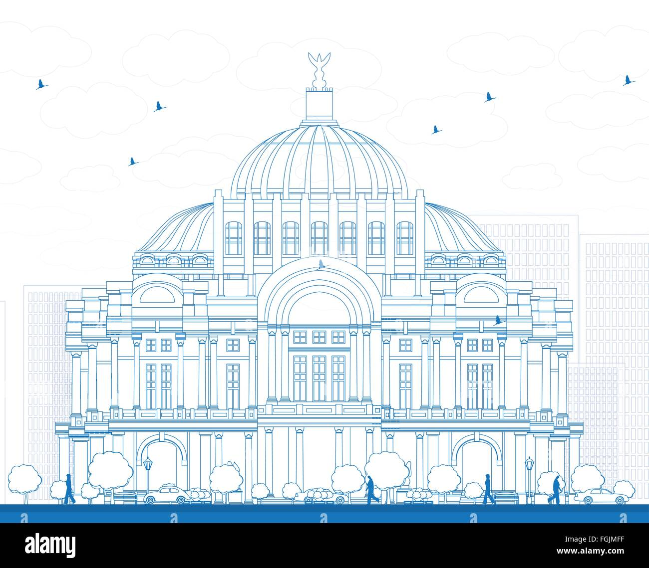 Outline The Fine Arts Palace/Palacio de Bellas Artes in Mexico City, Mexico. Vector illustration. - Stock Vector