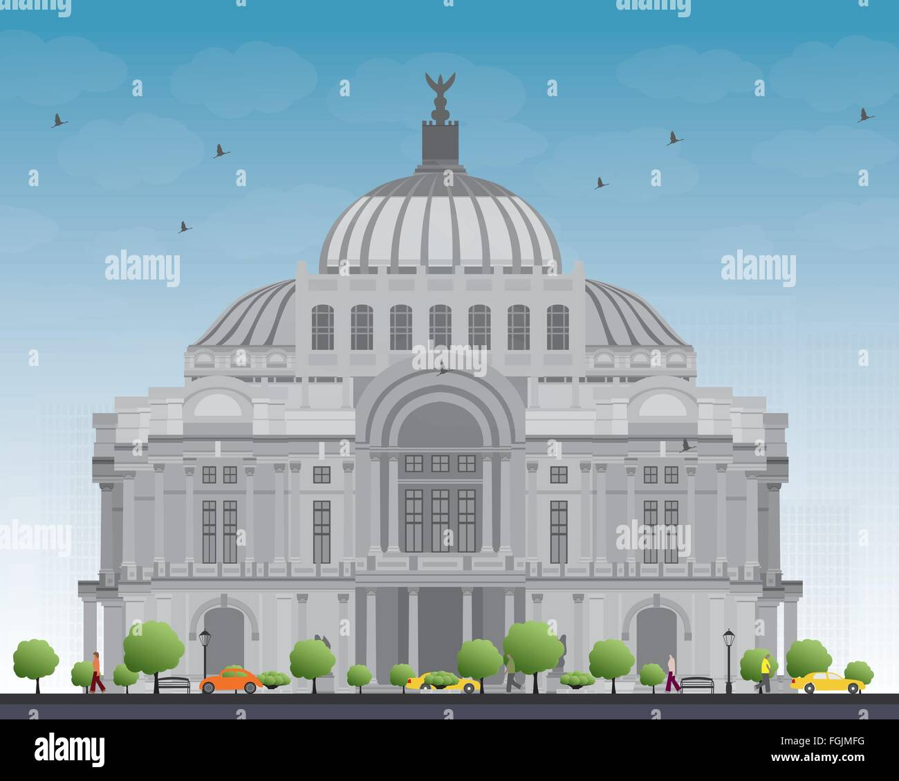 The Fine Arts Palace/Palacio de Bellas Artes in Mexico City, Mexico. Vector illustration. Business Travel and Tourism - Stock Vector